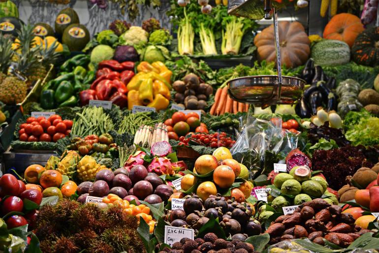 colorful vegetables in supermarket