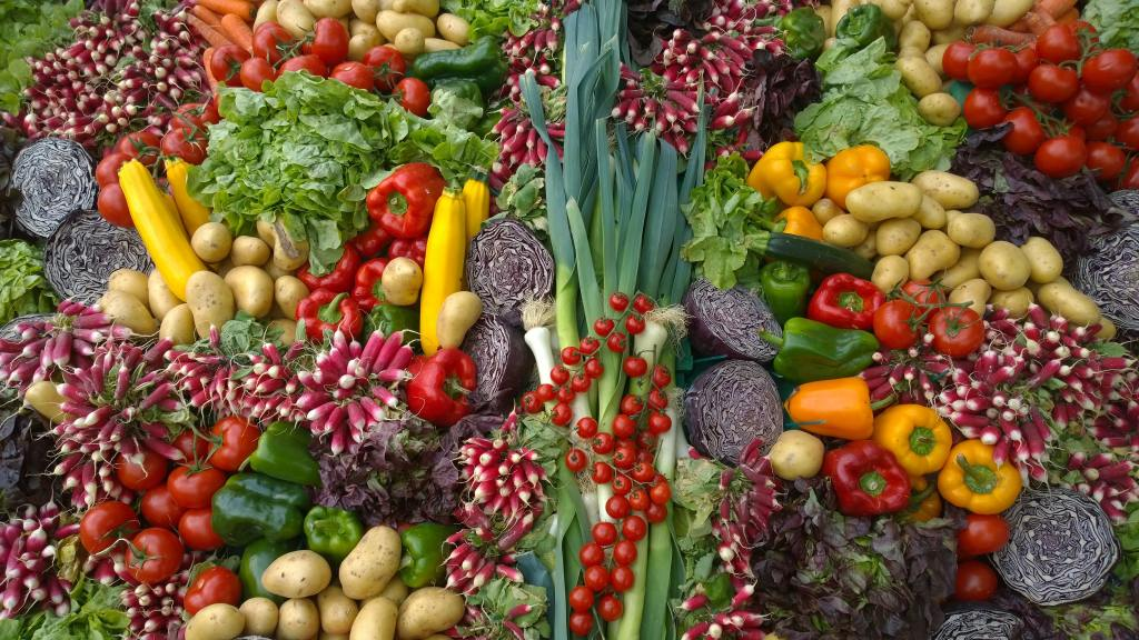 Brightly colored vegetables